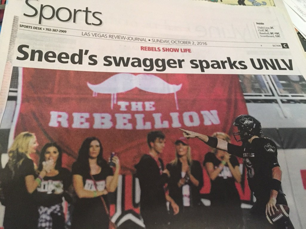 The new @UNLVRebellion flag makes the front page of @RJ_Sports after the #UNLVFB win. And @daltonsneed too!