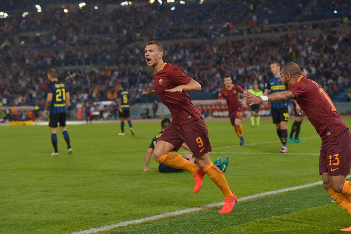 ROMA INTER Risultato esatto finale 2-1 Video gol highlights: Dzeko Banega Manolas.