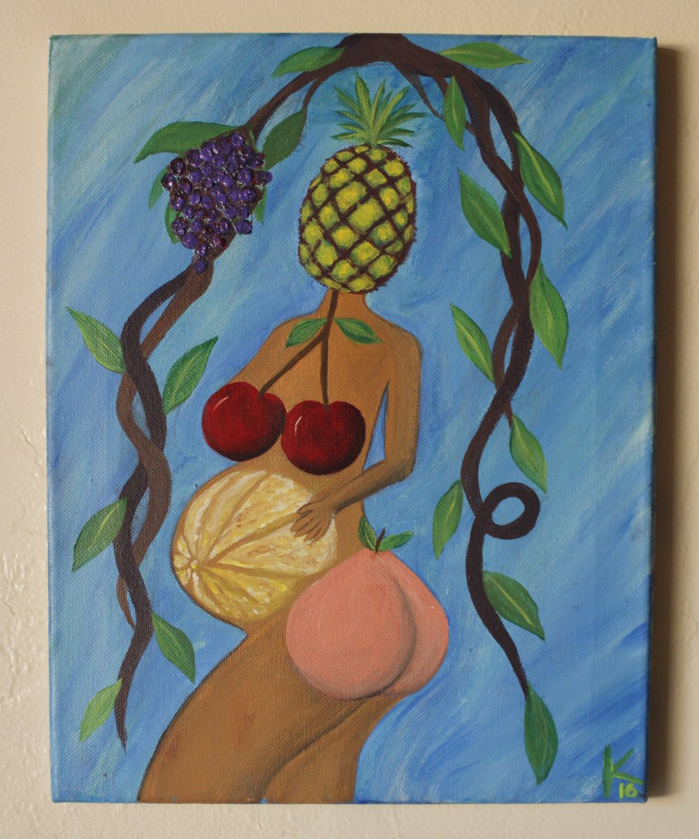 """""""Women are the fruit of Life"""" acrylic on canvas by yours truly"""