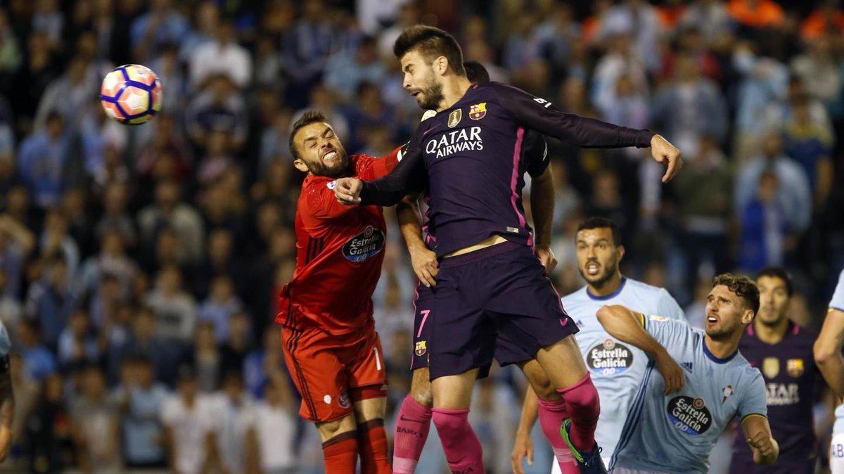 Gerard Pique Scoring Barca;'s first Goal against Celta Vigo