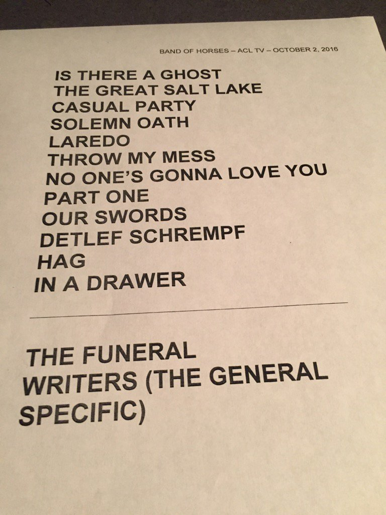 Set list for @acltv @bandofhorses #acltv https://t.co/fvmIbzPky3