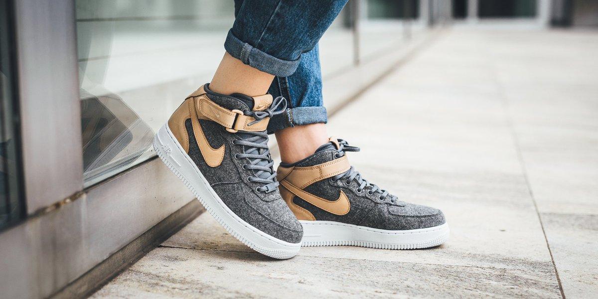 33ba33b982cd NEW IN! Nike Wmns Air Force 1  07 Mid Leather Premium - Cool Grey Cool  Grey-Vachetta Tan-White SHOP HERE  http   bit.ly 2dZ9jPt  pic.twitter.com dyIuKOOhk6
