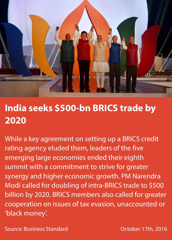 Smriti Z Irani On Twitter India Seeks 500 Bn Brics Trade By 2020