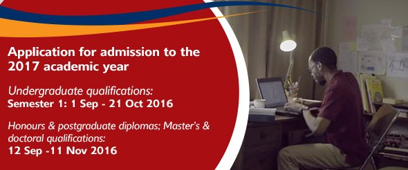 application closing date at unisa for 2016
