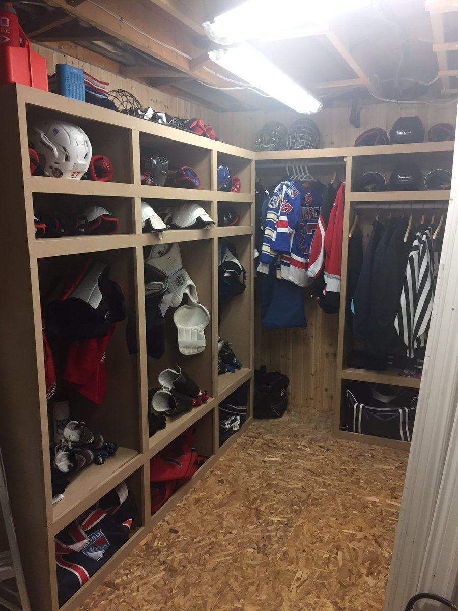 """David Chirrey on Twitter: """"The empty furnace room was begging for a homemade hockey locker. Well worth the time and effort for my two beauties!… """""""
