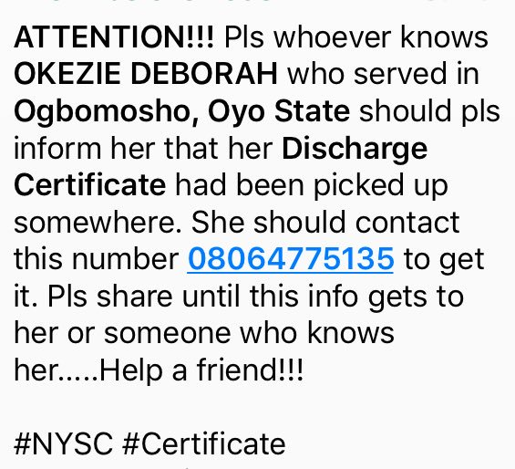 Lost and found NYSC Discharge Certificate! https://t.co/zQOvKIlJ4B