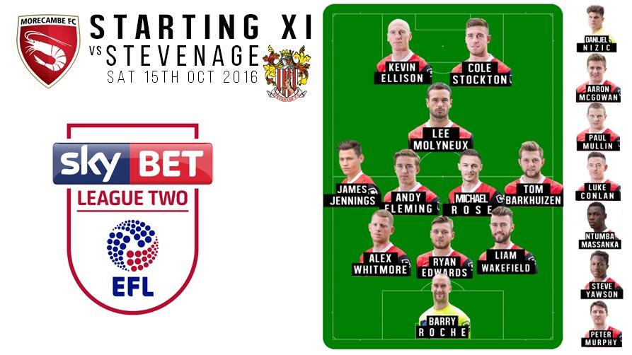 STARTING XI: Here's the shape for today's match vs @StevenageFC https://t.co/z5dsTpuooA