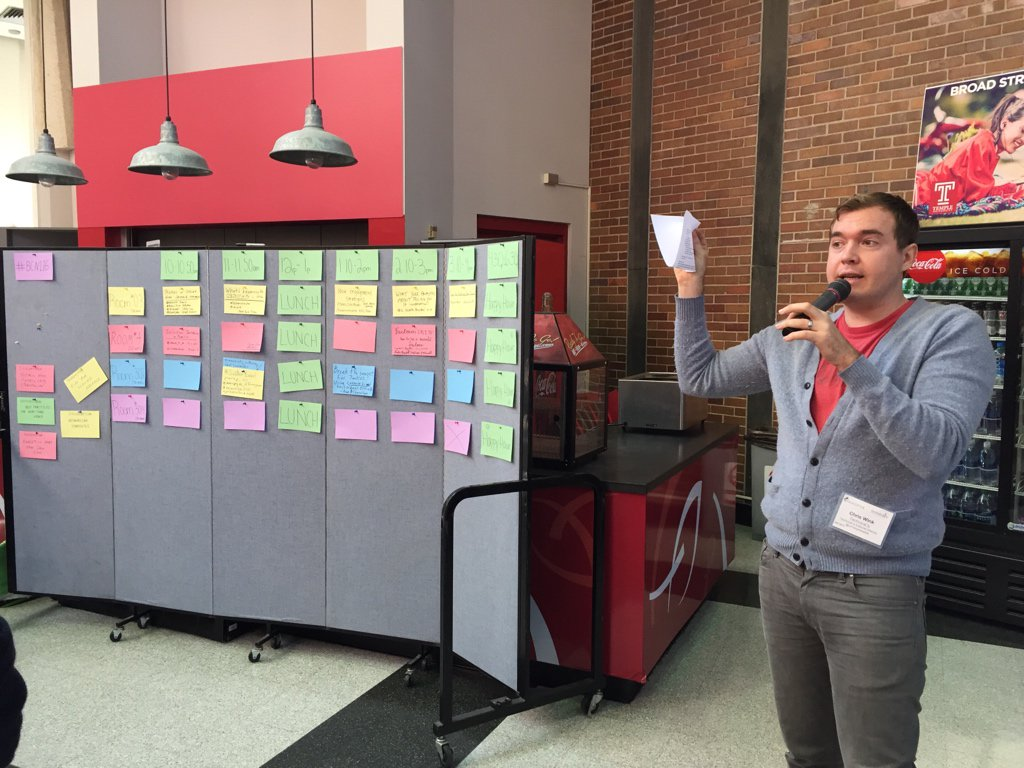 Hello! It's @christopherwink kicking off #bcni16 at @TempleSMC. Also pictured: unconference schedule board. https://t.co/8cMxP9kwpC