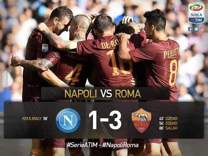 NAPOLI-ROMA Risultato esatto 1-3, i filmati dei gol di Salah Koulibaly e Dzeko (2).