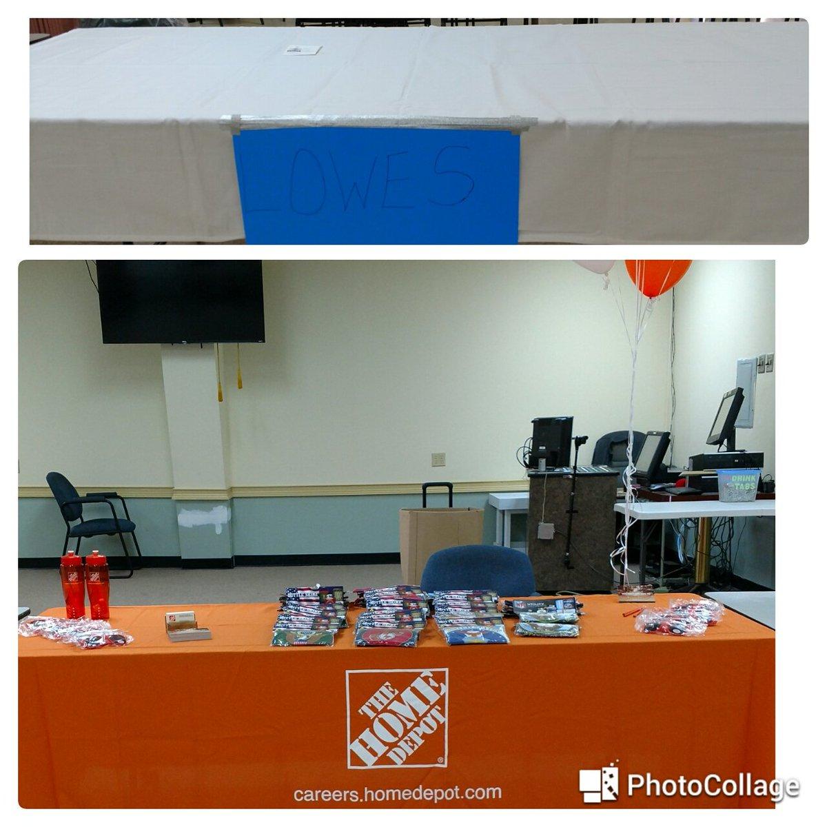 American Legion Post 77 Job Fair...@Conyers0128 vs Lowe's table. I love being Orange! @CharlesA_Wilson @jhiltonthd @JPatton89