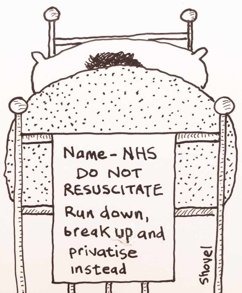 My cartoon - Theresa May shows her hand by refusing our ailing #NHS the extra funds it needs to survive https://t.co/IByt5CuFnX