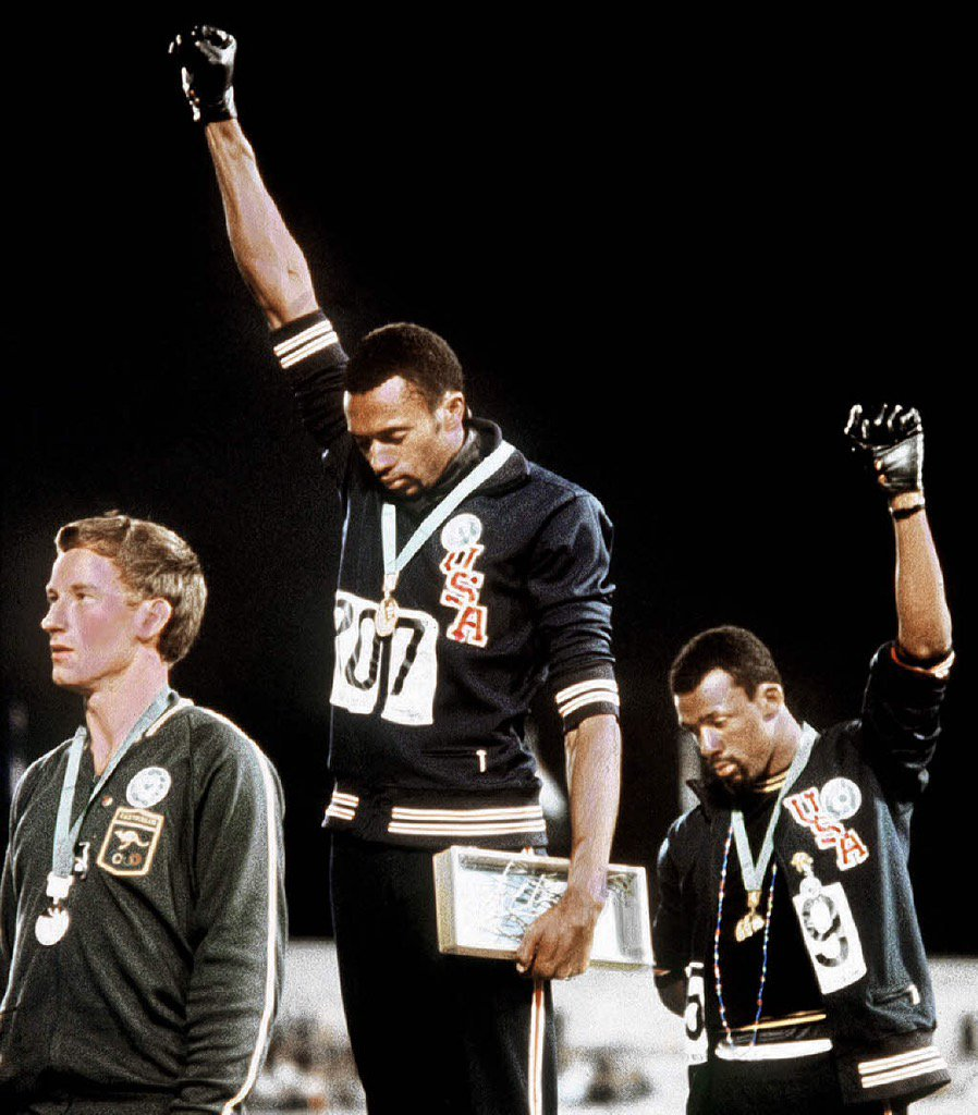 On this day in history: John Carlos, Tommie Smith, and Peter Norman shocked the world. Anthem played, fists up. https://t.co/9RWyKARbwv