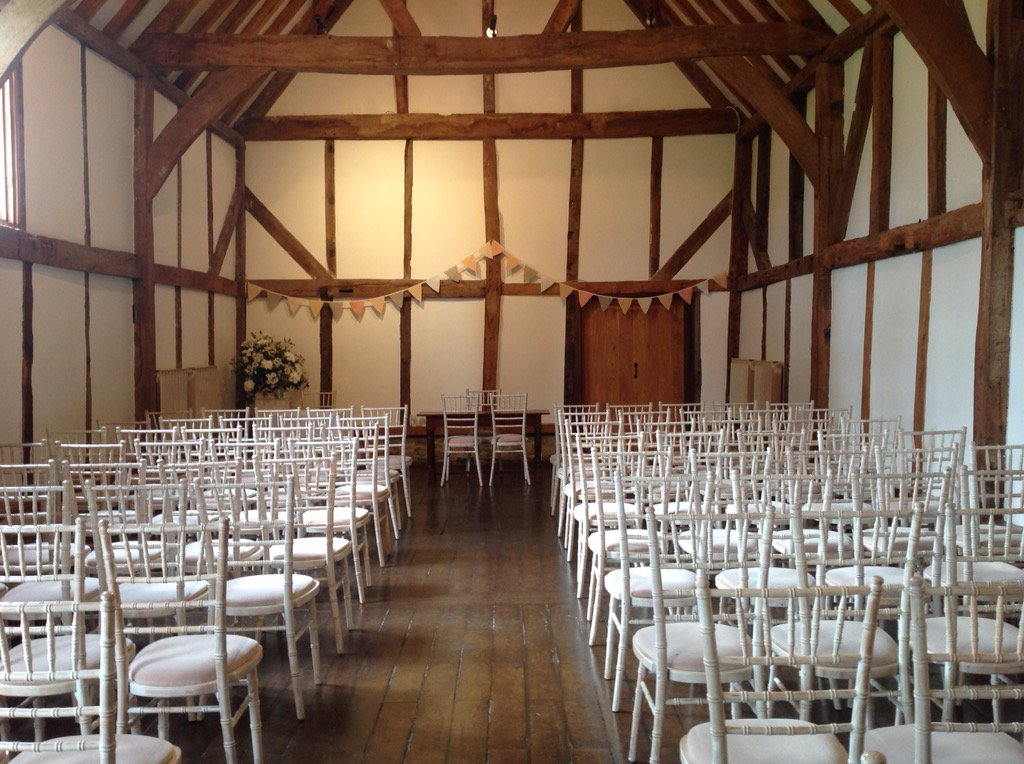 All ready for yesterday's civil ceremony in our beautiful #tithebarn @LoseleyPark @Loseleyevents