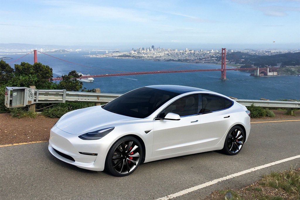 Pearl white Tesla Model 3. Holy crap