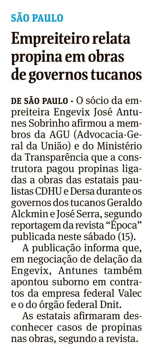 Sem muito destaque e quase escondida a nota da Folha sobre suspeita de propina aos presenciáveis tucanos José Serra… https://t.co/9adI2YPKfb