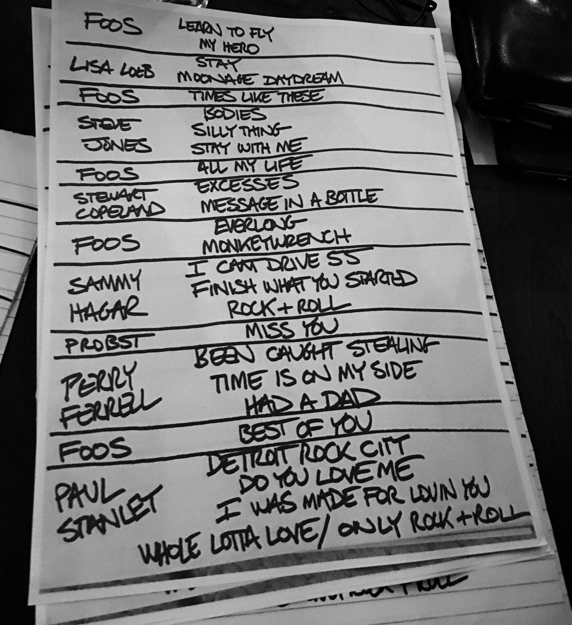 Sammy Hagar On Twitter Set List From Last Night S Dave Grohl Foofighters Charity Gig Yow Rockforgood Https T Co Chdguegmxc