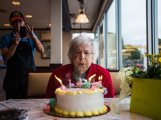 Nadine received a birthday cake and card from McDonald's on her 100th  birthday.