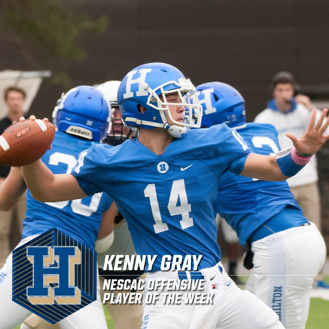 Kenny Gray of @HamCollSports is the #NESCAC Football Offensive Player of the Week -  https://t.co/MynTA93iYk https://t.co/5ZtbhO53np