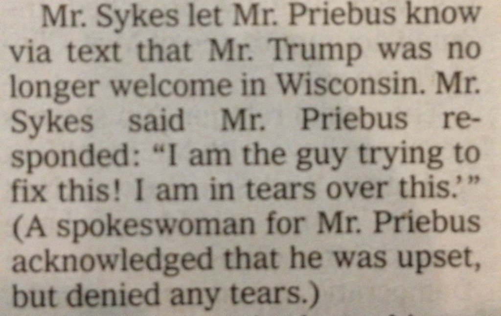 """I'M NOT CRYING YOU'RE CRYING"" - Reince Priebus https://t.co/5IYL74wGcL"