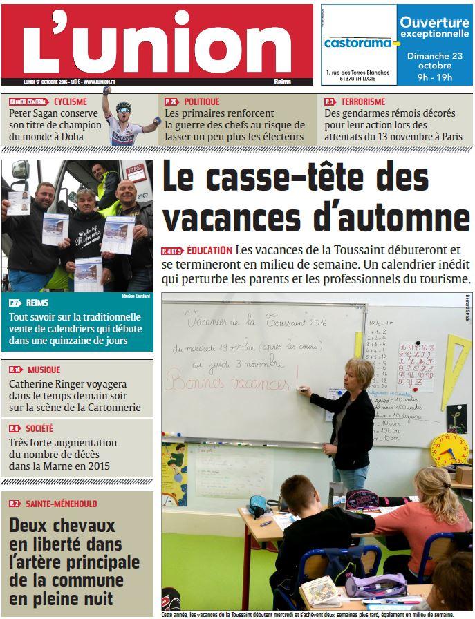 L Union De Reims : voici la une de l 39 union reims du lundi 17 octobre 2016 ~ Dailycaller-alerts.com Idées de Décoration
