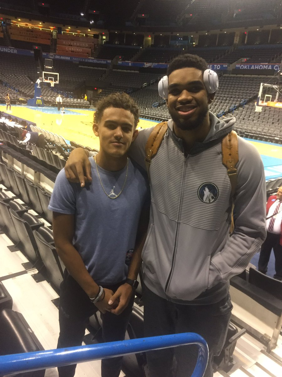 Trae Young went to Louisville to watch Karl Towns play Saturday night, via @TheTraeYoung.