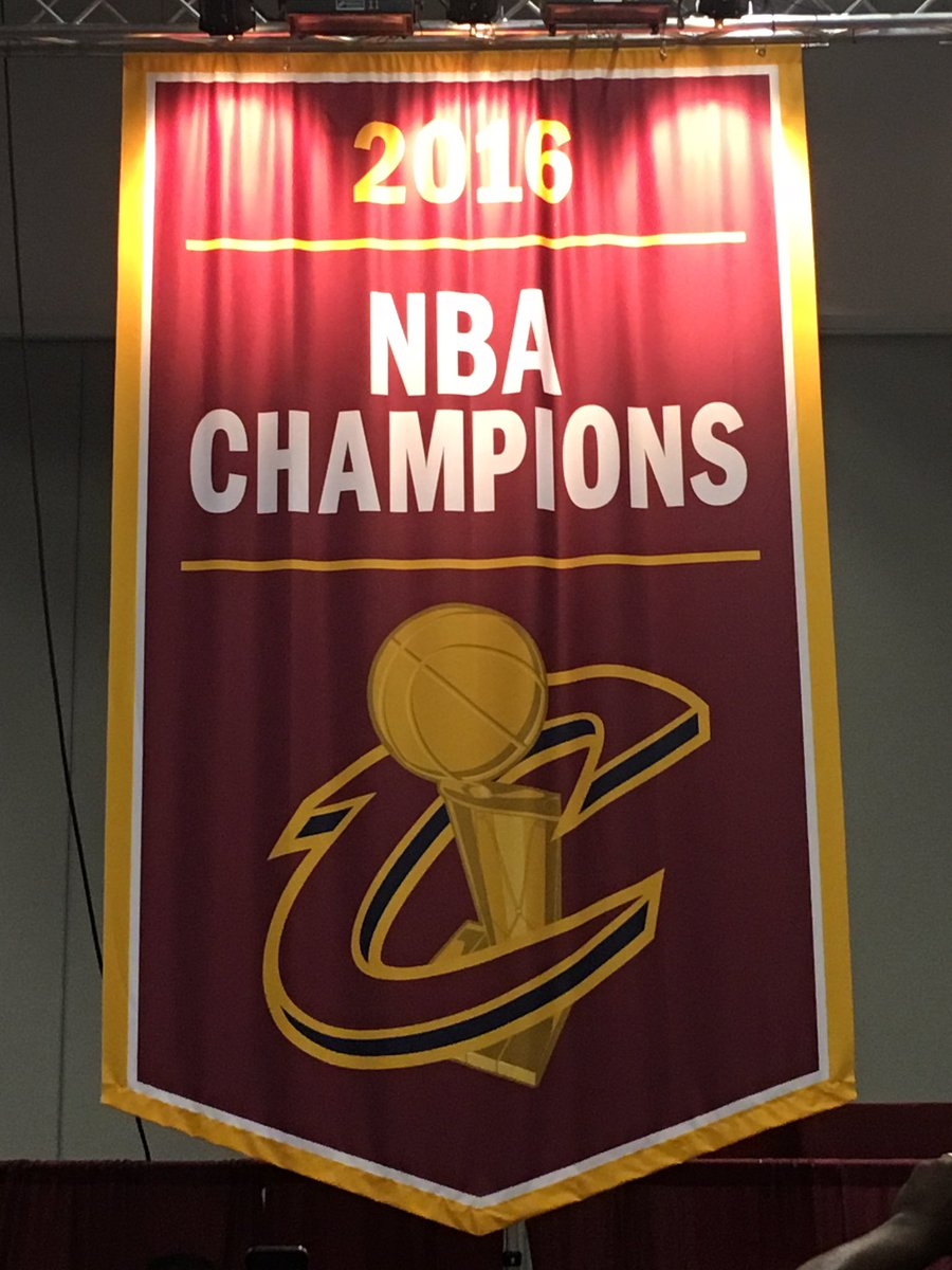 Here it is, @cavs fans. The 2016 Cleveland Cavaliers Championship banner! Next stop: the rafters at @TheQArena! https://t.co/s1N6cu0tJY