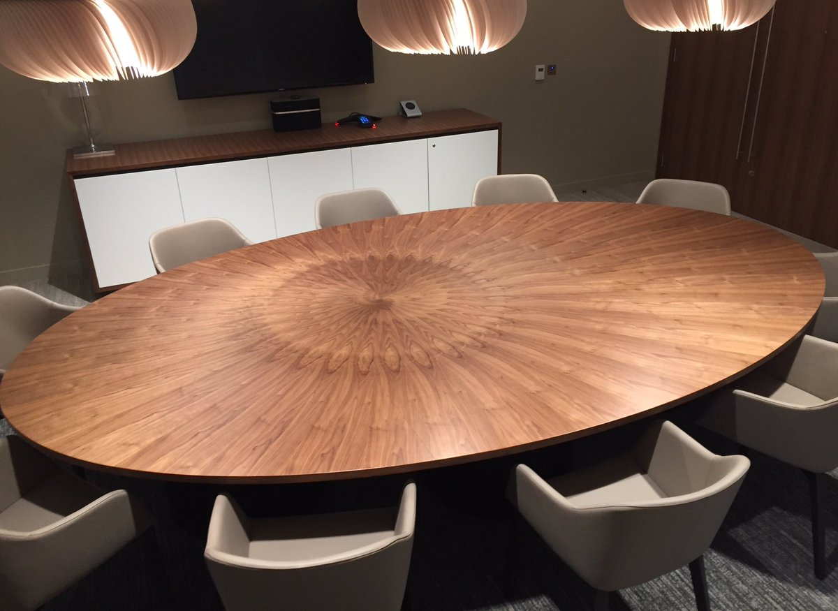 william hands on twitter stunning corporate dining table with elliptical radial veneer in american black walnut