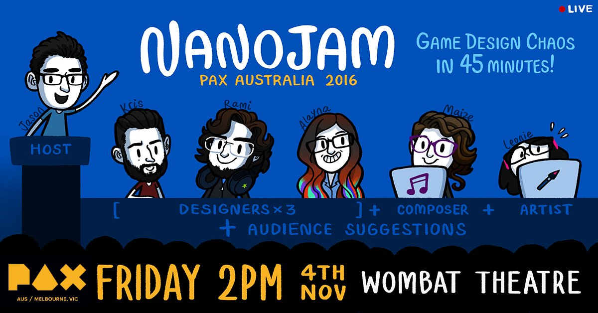 Panel Highlight: Cram game design into a one hour panel with @krisstraub @jasonimms @AlaynaMCole @tha_rami @MaizeWallin @leonieyue! #PAXAus https://t.co/Ubvj6NjfAD