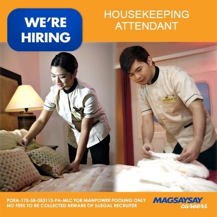 "Hiring A Housekeeper magsaysay careers on twitter: ""hiring: male or female housekeeping"