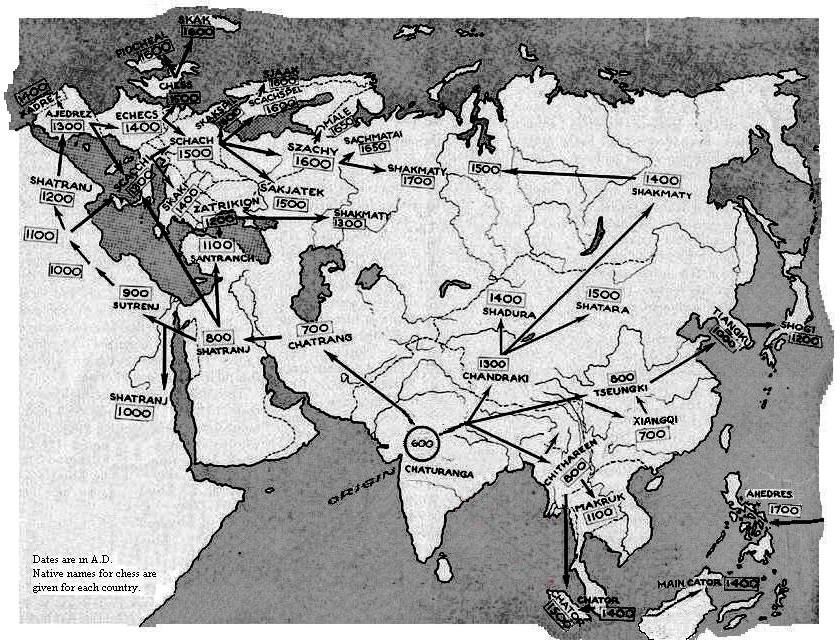 Map showing origin and diffusion of Chess from India to Rest