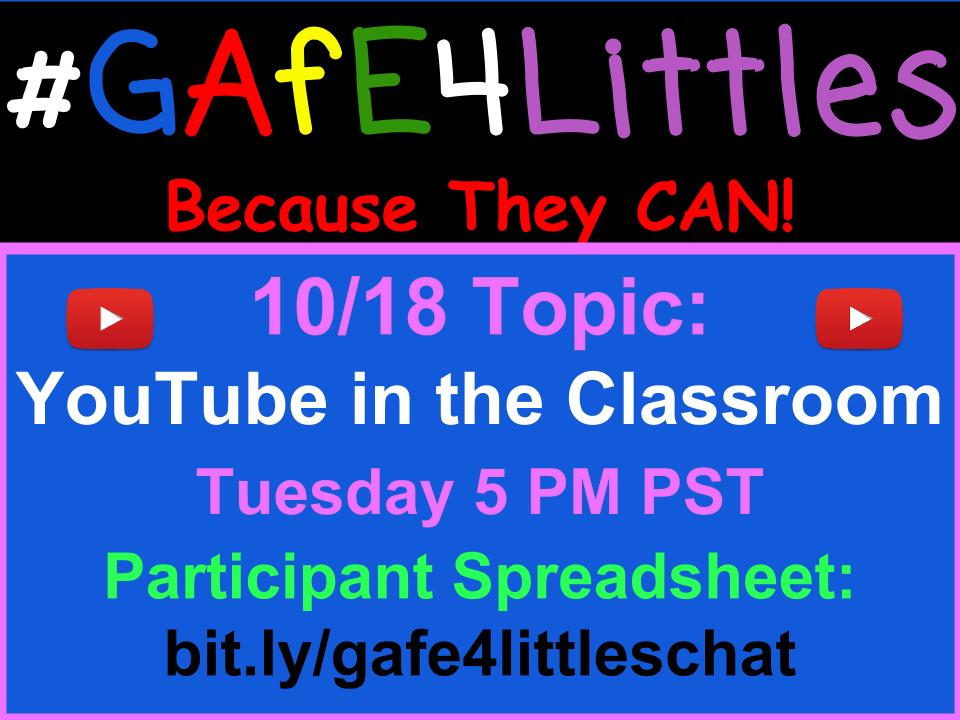 Discussing YouTube in the classroom during the #gafe4littles chat this week! Join us at 5 PM PST on Tuesday https://t.co/Yh2qbFkC6C https://t.co/2inS0kcfM3