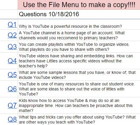 Questions for tomorrow's #gafe4littles chat! Discussing #YouTube in the classroom! https://t.co/Yh2qbFCdvc #tlap #learnlap #edtechchat https://t.co/oJvNpNyl44