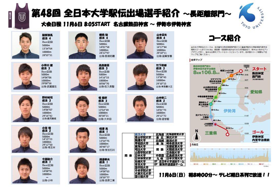#全日本大学駅伝 東洋のエントリーきた!