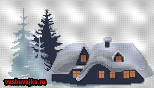 вышивка домик небольшие вышивки