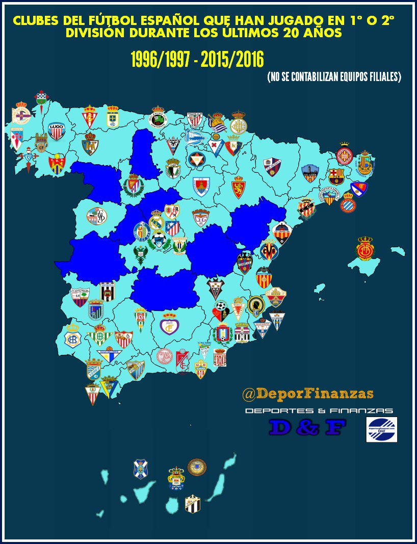 Football Map Of Spain.Colin Millar On Twitter A Lovely Map Of Spanish Football Clubs To
