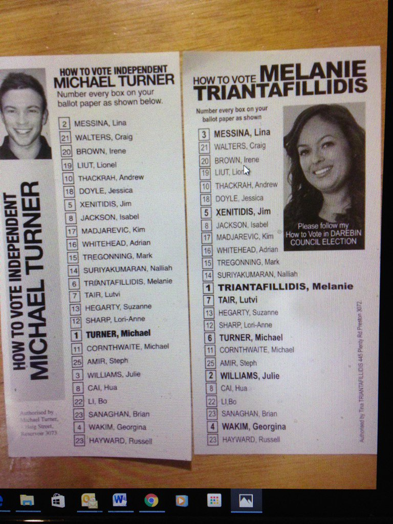 Stephen Mayne On Twitter These Two Darebin Supporting Candidates Have Both Made The Same Htv Blunder Duplicating Number 23 Oh Dear