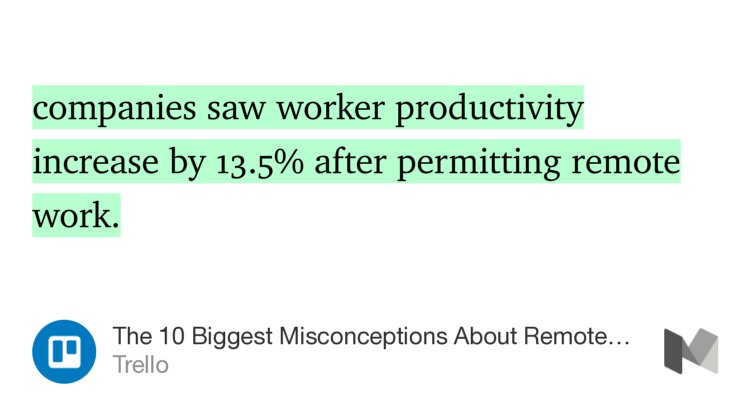 """""""companies saw worker productivity increase by 13.5% after permitting remote…""""—@trello https://t.co/rcLNtpWDLK https://t.co/ezUJZ7JTeY"""