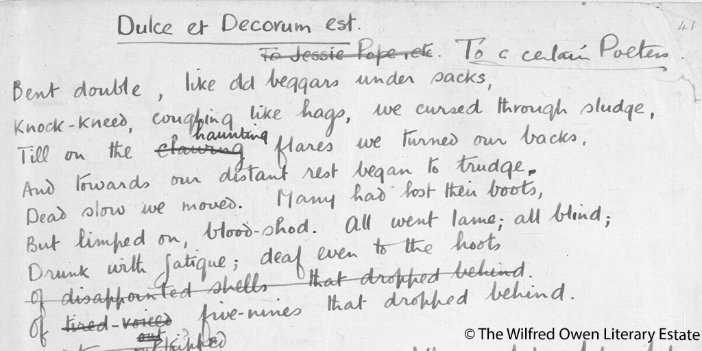 dolce et decorum est essay Dulce et decorum est anyone, who truly wants to go to war, has never really been there before kosovar this not so famous quote, tells about dulce et decorum est is a poem about war written by wilfred owen during world war 1 in 1917-1918 he was a soldier who experienced war first hand.
