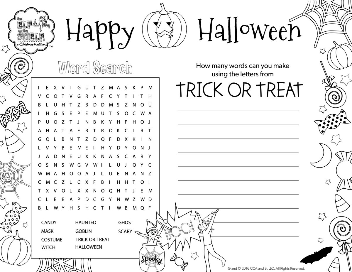 ... how many words can you make out of happy halloween worksheet kidz activities ...