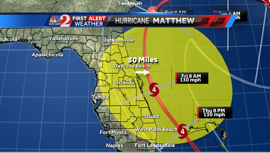 11am #Matthew update just in.... still a Cat 4 impacting Central #FL on Friday. #WESHwx https://t.co/kVpUIo9D6d