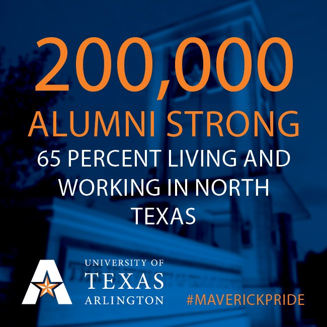 #PublicUValues: Did you know that 65% of UTA's 200,000 @UTAAlumni live in  North Texas and contribute to the workforce.pic.twitter.com/ju4a2VhGfi
