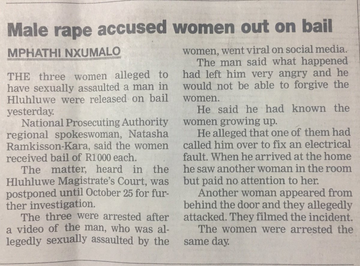 Just came across this, the three women accused of raping a man are out on R1000 bail. https://t.co/1KtzSoVxkX