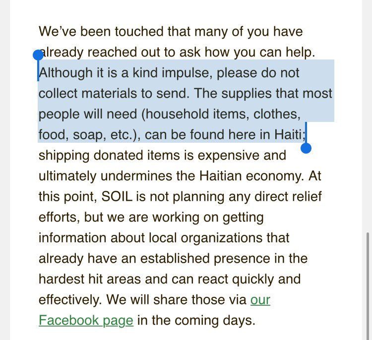 Shout out to @SOILHaiti for this email note emphasizing responsible donating. Buy local! #MatthewHaiti https://t.co/n7jyQIAEdD