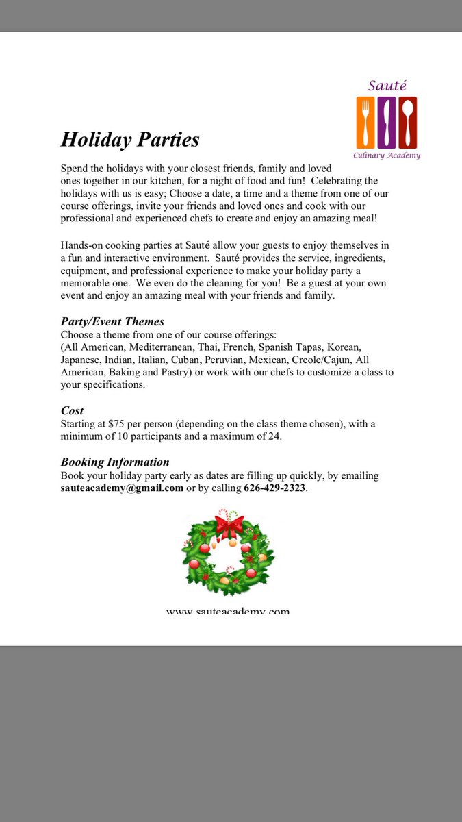 Gmail themes holiday - Book Your Holiday Cooking Party Soon As Dates Are Filling Up Quickly 626 429 2323 Sauteacademy Gmail Compic Twitter Com Np8e1exsym