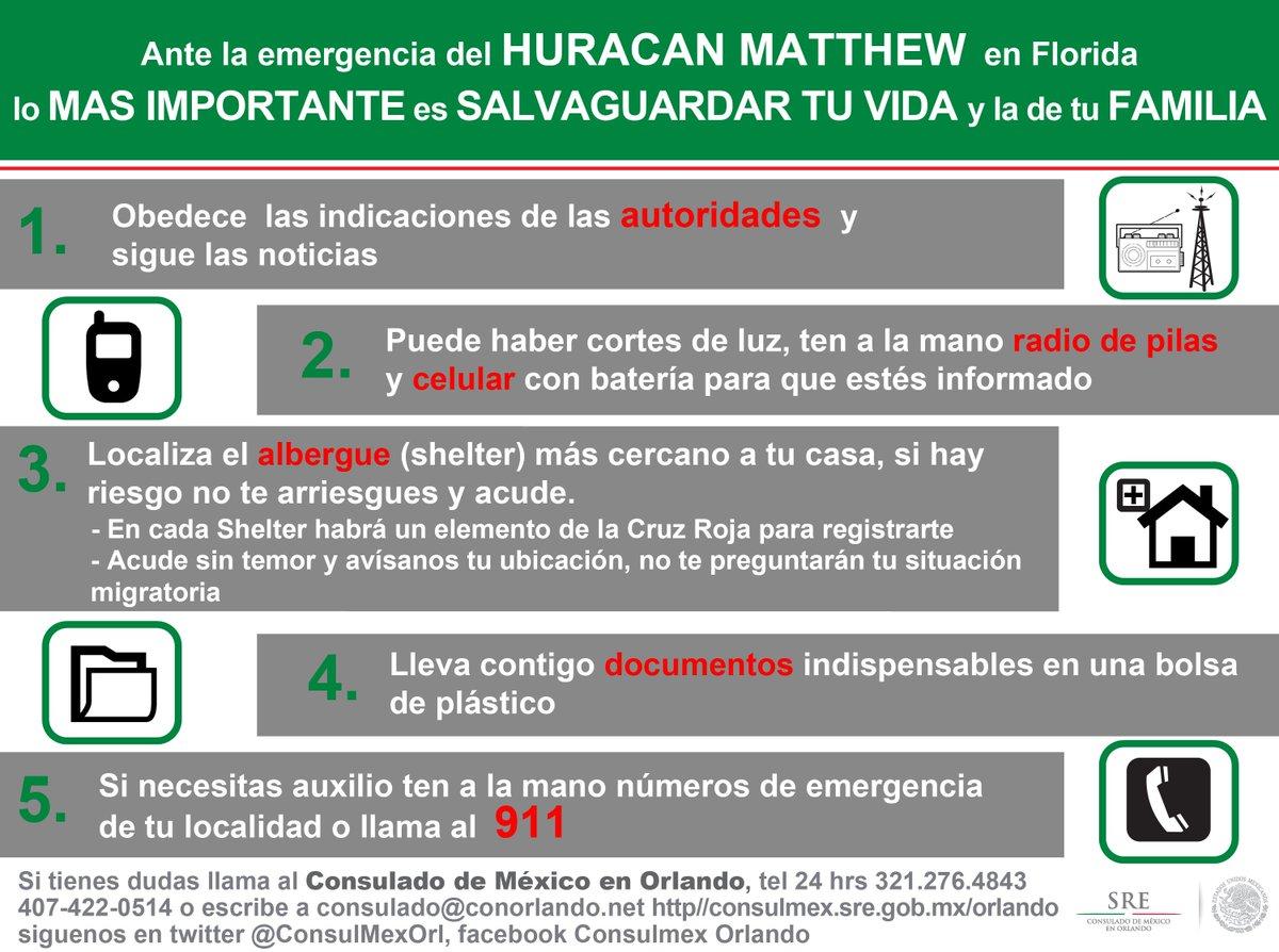 Recomendaciones que debes seguir por el  #HuracánMatthew Coloca en bolsa de plástico tus documentos principales. https://t.co/A7BiWTZ940