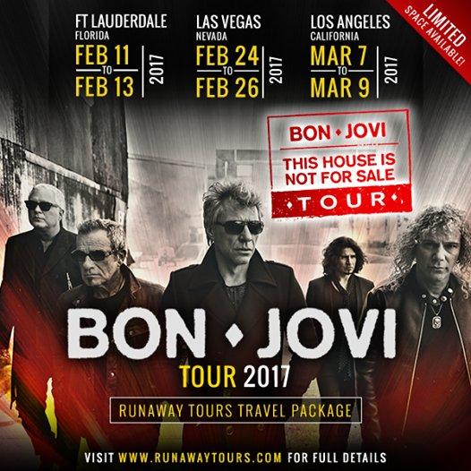 Three Runaway Tours Bon Jovi Trips in Feb. & March 2017! Ft. Lauderdale, Las Vegas & LA!  https://t.co/xE8dyBGAzu https://t.co/zNjoBLXRxr