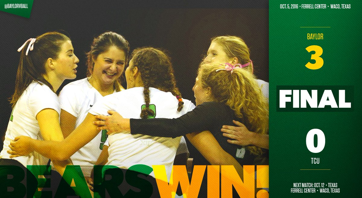 BEARS WIN! Baylor sweeps TCU for its third win over a top-20 RPI opponent in the last four weeks. #SicTCU #SicEm https://t.co/MlVx53g7Lw