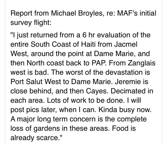 Update from @MichaelJBroyles flight over Haiti's impacted region. Not good. Not good at all. #Matthew https://t.co/Cu2LMAMlLk