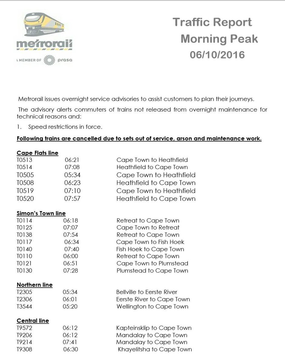 #ServiceAdvisory:  Note MorningPeak cancellations - sets out of service due to maintenance /arson @EWNTraffic https://t.co/vUYzHZWevW