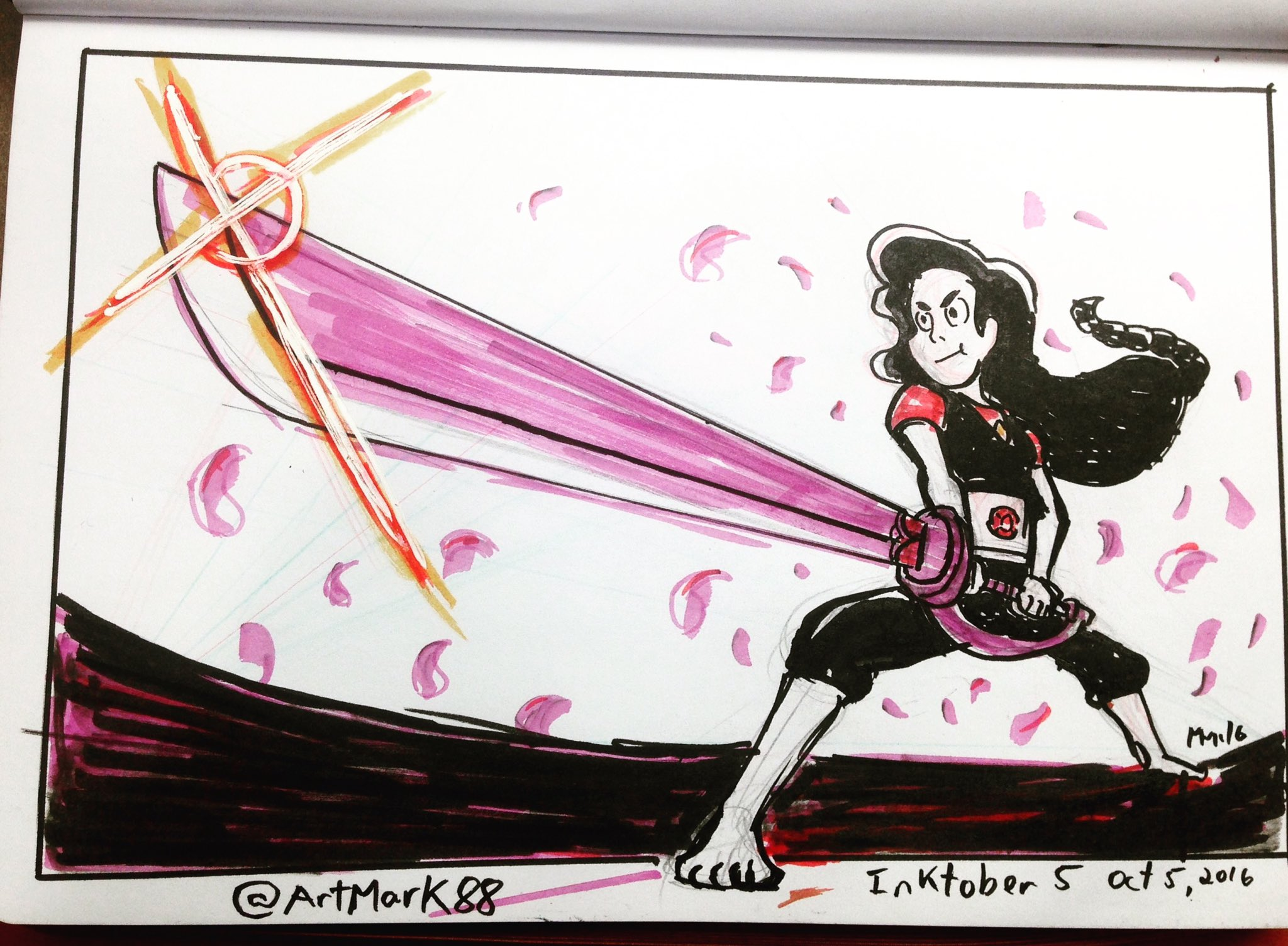 """#inktober 5 #stevonnie doing the signature #Obaripose events by @G1_BARI ! #steveuniverse #inktober2016 #superrobot"""